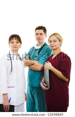 Three doctors on white isolated background