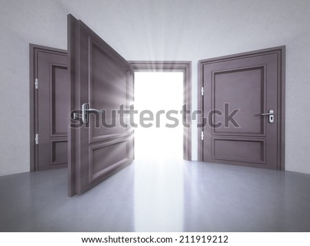 three doors interior with the open one with flare in 3D illustration - stock photo