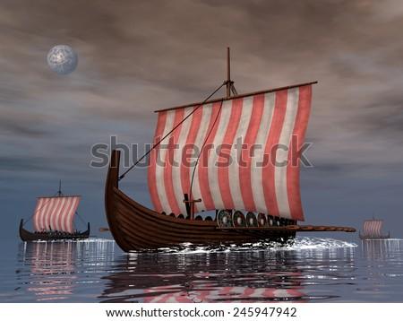 Three drakkars or viking ships floating on the ocean night -3D render - stock photo