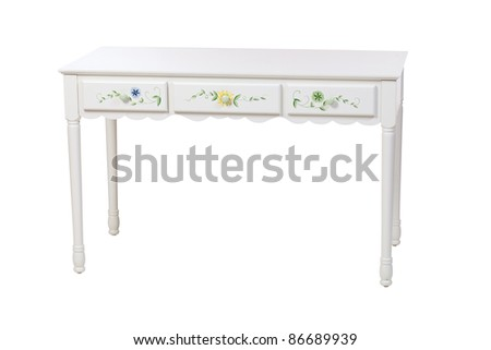 Three-drawer dressing table isolated on white, with clipping path - stock photo