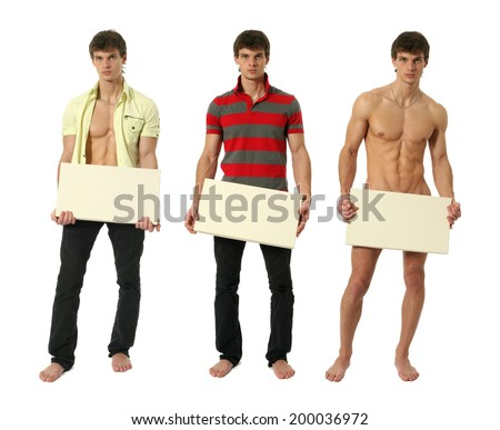 Three dressed and naked muscular men covering with a copy space blank sign isolated on white - stock photo