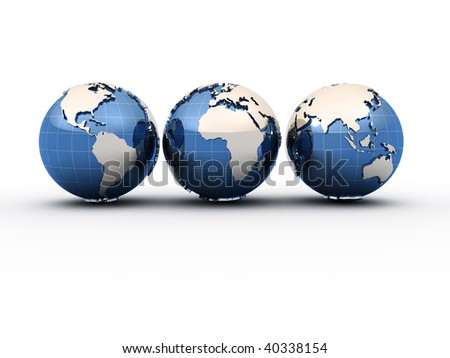 Three Earth globe showing all continents - 3d render