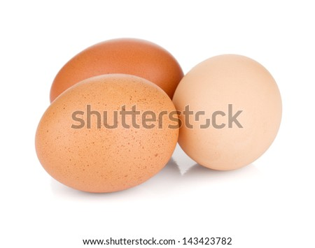 Three eggs. Isolated on white background - stock photo
