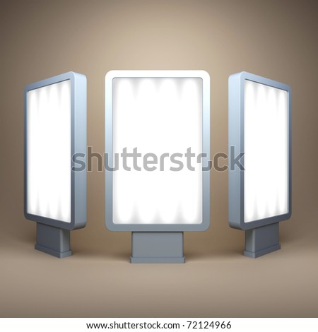Three empty billboards under different corners - stock photo