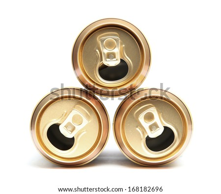 Three empty cans - stock photo