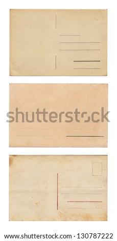 Three empty postcards isolated on white: set 4 - stock photo