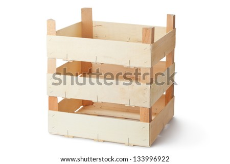 Three empty wooden crates. Isolated on a white. - stock photo