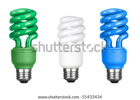 Three energy efficient spiral light bulbs isolated on white. - stock photo
