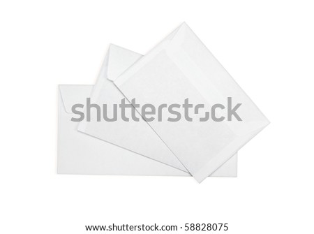 Three envelopes on a white background - stock photo