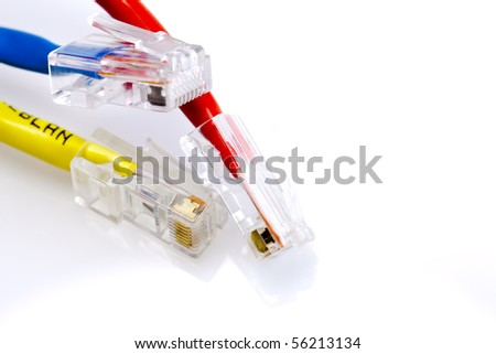 Three ethernet cables on a white background - stock photo