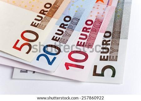 Three euro banknotes. Macro photo. Money concepts - stock photo