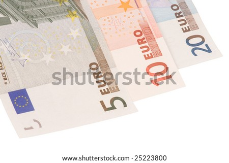 Three euro's banknotes