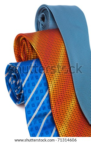three fashionable ties on a white background