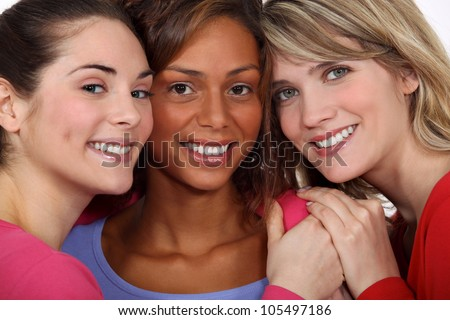 Three female friends - stock photo