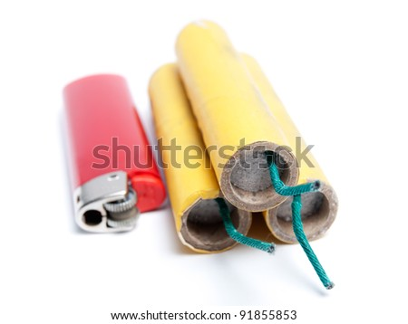 Three firecrackers and lighter on a white background. - stock photo