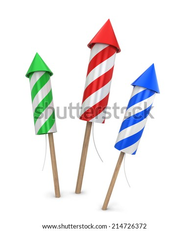 Three fireworks. 3d illustration isolated on white background