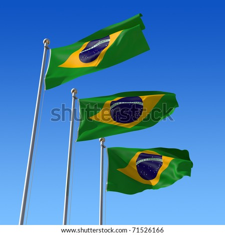 Three flag of Brazil with flag pole waving in the wind against blue sky. Three-dimensional rendering illustration.