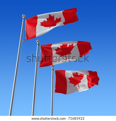Three flags of Canada against blue sky. 3d illustration. - stock photo