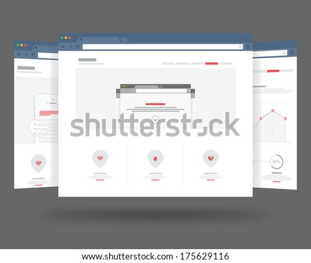 Three flat browser design with responsive website template - stock photo