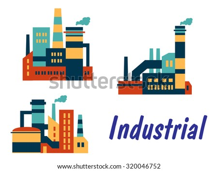 Three flat industrial icons showing factories, plants or refineries with smokestacks or chimneys with polluting smoke and the word - Industrial, isolated on white background - stock photo