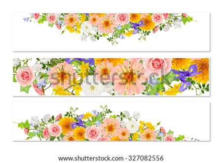 Three flower banners with collage of flowers on white background with shadows. - stock photo