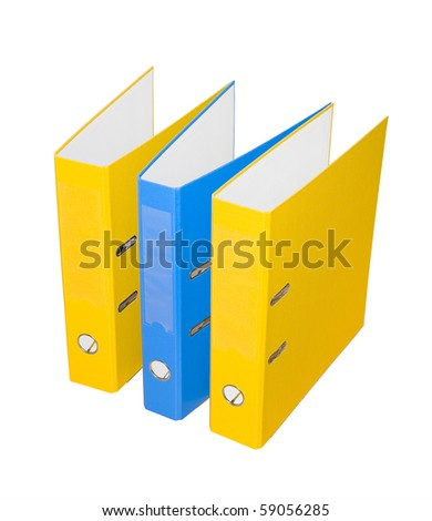 Three folders on a white background. Isolated... - stock photo