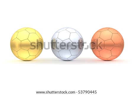 three footballs/soccer balls in a line - completely made of gold, silver, bronze