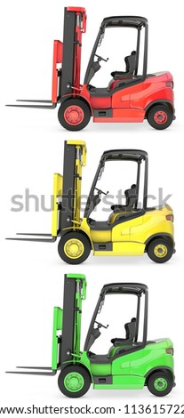 Three fork lift trucks colored as traffic lights, isolated on white background - stock photo