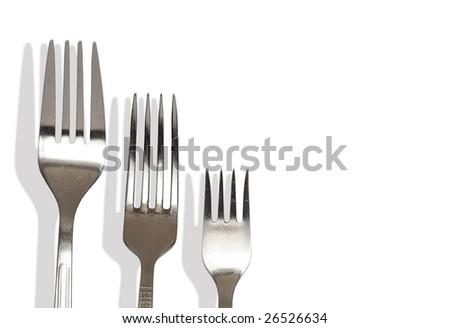 Three forks isolated on white