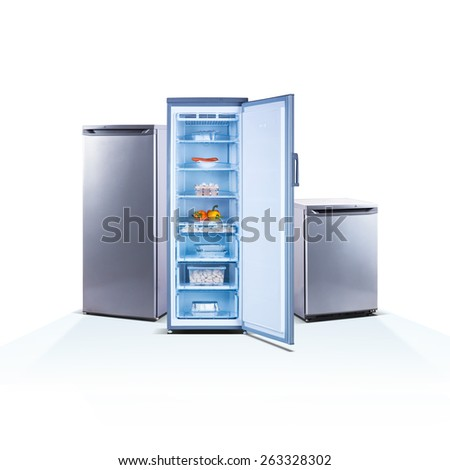 Three freezers on white background, open, front view, with food, isolated on white, shiny grey metallic - stock photo