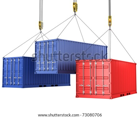 Three freight containers are being hoisted, isolated on white background - stock photo