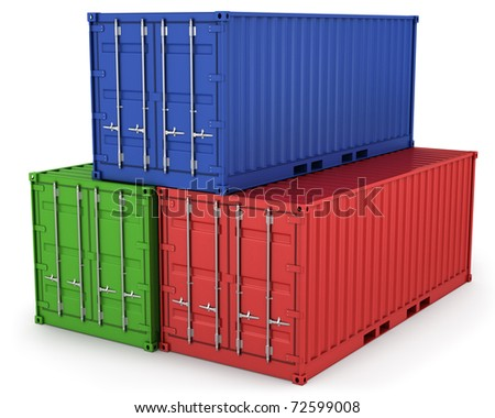 Three freight containers isolated on white background - stock photo