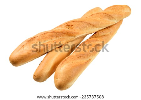 Three French Baguette Isolated On The White Background