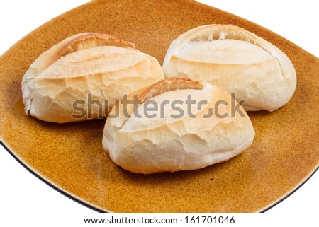 three french breads on a big plate - stock photo