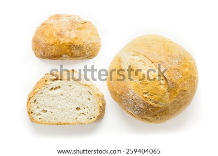 Three Fresh Artisan Bread Isolated On White Background