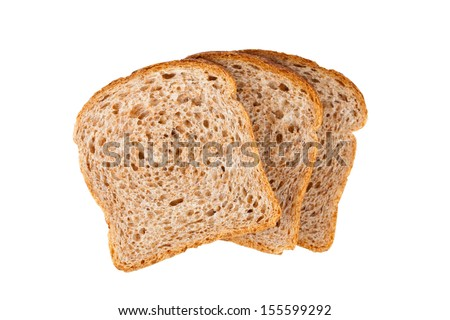 three fresh bread slices isolated on white background - stock photo