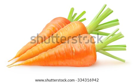 Three fresh carrots isolated on white background, with clipping path - stock photo