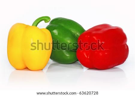 Three fresh paprika - stock photo