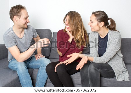 Three friends having a good laugh