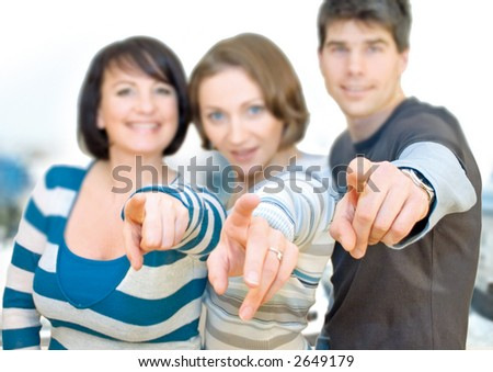 three friends having fun - stock photo