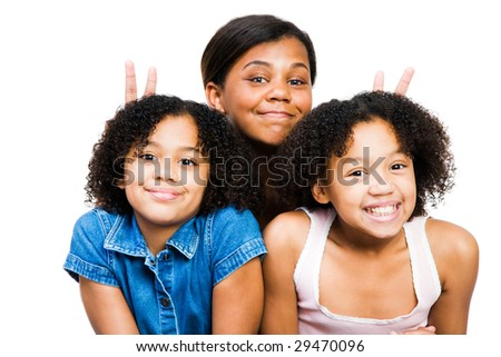 Three friends posing and smiling together isolated over white - stock photo