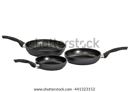 Three frying pans, isolated on white background - stock photo