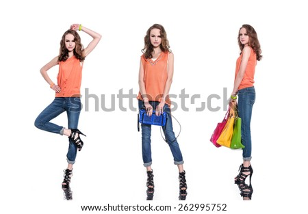 Three Full body young woman in bag with scarf posing  - stock photo