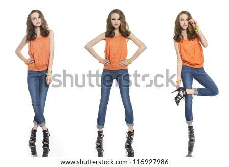 Three full body young woman in jeans casual clothes posing - stock photo
