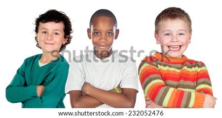 Three funny children isolated on a white background - stock photo