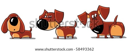 Three funny dachshunds isolated on white. - stock photo