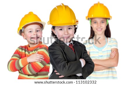 Three future construction workers isolated on a over white background - stock photo