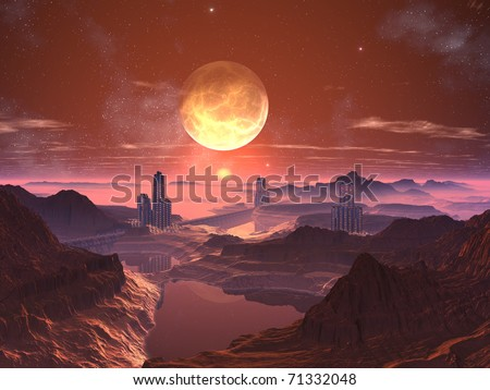 Three Futuristic Towered Cities with Moon at Sunset - stock photo
