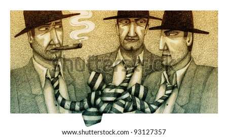 Three gangsters in ties - stock photo