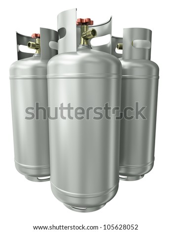Three gas containers. 3D render. - stock photo